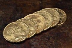 Moedas de ouro belgas Foto de Stock