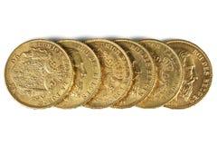 Moedas de ouro belgas Fotografia de Stock Royalty Free