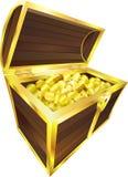 Moedas de ouro da caixa de tesouro ilustração stock