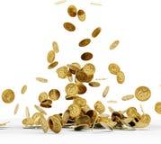 Moedas de ouro de queda isoladas fotos de stock