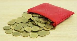 Moedas de ouro do bolso pequeno do couro da moeda Foto de Stock