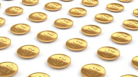 moedas de ouro do dólar americano alinham o voo sobre o assoalho branco 3d para render ilustração do vetor