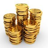 Moedas de ouro do montão Fotografia de Stock