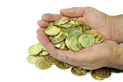 Moedas de ouro em um malote de veludo imagens de stock royalty free