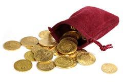 Moedas de ouro europeias da circulação imagens de stock
