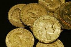 Moedas de ouro francesas Fotografia de Stock
