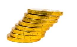 Moedas de ouro isoladas Fotografia de Stock Royalty Free