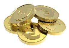 Moedas de ouro isoladas em um fundo branco. Fotografia de Stock