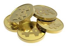 Moedas de ouro isoladas em um fundo branco. Foto de Stock Royalty Free