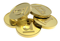 Moedas de ouro isoladas em um fundo branco. Imagem de Stock