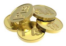 Moedas de ouro isoladas em um fundo branco. Imagens de Stock Royalty Free