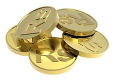Moedas de ouro isoladas em um fundo branco. Foto de Stock