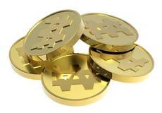 Moedas de ouro isoladas em um fundo branco. Fotografia de Stock Royalty Free