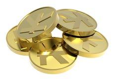Moedas de ouro isoladas em um fundo branco. Fotos de Stock