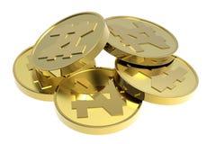 Moedas de ouro isoladas em um fundo branco. Imagem de Stock Royalty Free