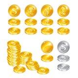 Moedas de ouro no fundo branco Fotos de Stock Royalty Free