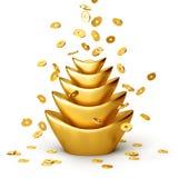 Moedas de ouro que caem no sycee chinês do ouro Fotos de Stock