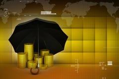 Moedas de ouro sob um guarda-chuva preto Imagem de Stock Royalty Free