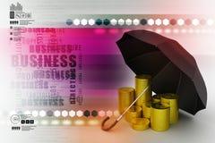 Moedas de ouro sob um guarda-chuva preto Imagens de Stock Royalty Free
