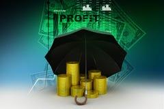 Moedas de ouro sob um guarda-chuva preto Foto de Stock Royalty Free
