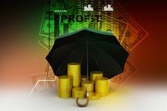 Moedas de ouro sob um guarda-chuva preto Imagem de Stock