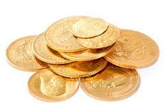 Moedas de ouro velho Imagens de Stock