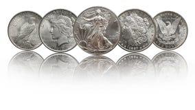 Moedas de prata águia de prata, morgan e dólar de Estados Unidos da paz fotografia de stock
