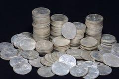 Moedas de prata Foto de Stock