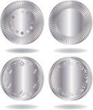 Moedas de prata ajustadas Foto de Stock
