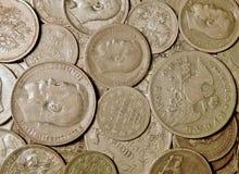 Moedas de prata antigas Foto de Stock
