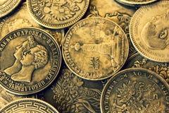 Moedas de prata antigas do russo idoso imagens de stock royalty free