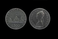 Moedas de prata de Caravels Fotos de Stock Royalty Free