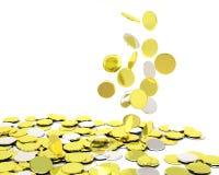 Moedas de prata de queda do ouro Foto de Stock