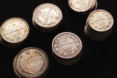 Moedas de prata de Rússia imperial Fotos de Stock Royalty Free
