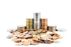 Moedas de prata e de cobre Fotografia de Stock Royalty Free