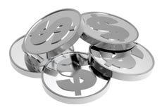 Moedas de prata isoladas em um fundo branco Fotos de Stock Royalty Free