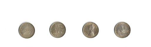 Moedas de prata italianas Imagens de Stock Royalty Free