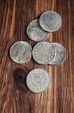 Moedas de prata velhas Foto de Stock Royalty Free
