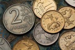 Moedas de Rússia Foto de Stock Royalty Free