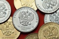 Moedas de Rússia O russo dobro-dirigiu a águia fotografia de stock royalty free