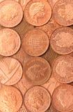 Moedas de um centavo britânicas Fotografia de Stock