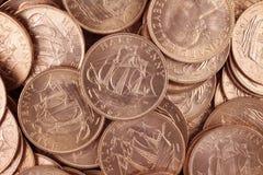 Moedas de um centavo britânicas de Uncirculated meias Imagens de Stock Royalty Free