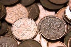Moedas de um centavo canadenses Foto de Stock