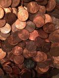 Moedas de um centavo da pilha o fotografia de stock royalty free