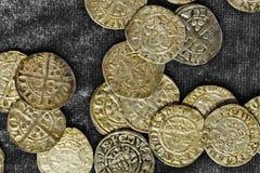 Moedas de um centavo de prata Foto de Stock
