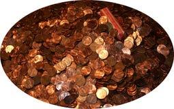 Moedas de um centavo do potenciômetro 0 Imagens de Stock Royalty Free