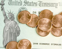 Moedas de um centavo a gastar. foto de stock royalty free