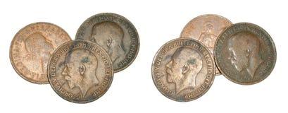 Moedas de um centavo inglesas velhas Fotos de Stock Royalty Free