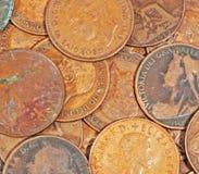 Moedas de um centavo inglesas velhas Fotos de Stock