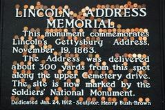 Moedas de um centavo de Lincoln em Gettysburg imagem de stock